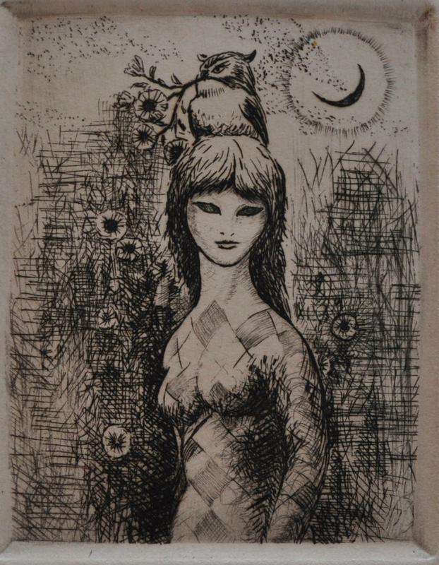 standing female figure with diamond pattern throughout body; bangs and long hair, with black eyes; owl seated on head of figure; scattered flowers surround figure, along with black shading