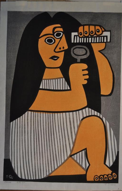 stylized image of a female figure with long dark hair, gray and white striped dress and orange skin; holds white comb with PL hand, and small gray hand mirror in PR hand; bare leg, bent, with exposed toes in LRC