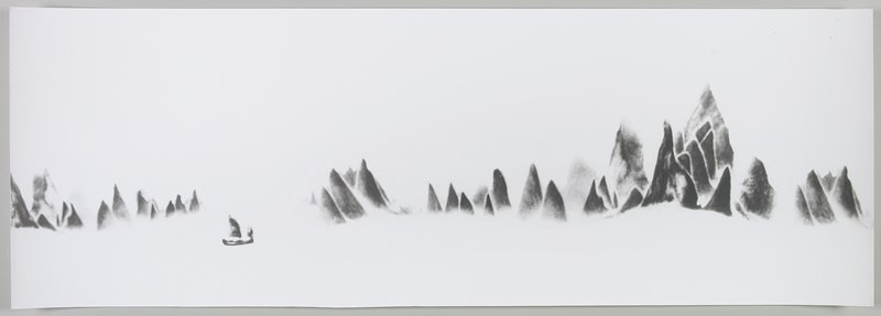 fuzzy black pointed land formations in a white landscape; sailboat in front, LLC; Li River, Peoples Republic of China
