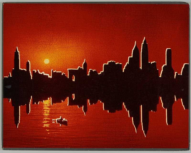 brown skyline edged in white, reflected in water; red sky and water; figure in rowboat at LLC; sun at L; overall crackle-like effect in reddish-brown