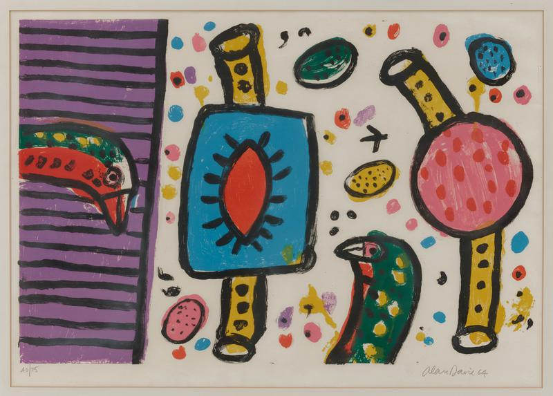 abstract image; two bird heads at left and LRQ in green, yellow, and red; purple rectangle with horizontal black stripes at left; colorful spots and forms with yellow and black tubes at top and bottom at center at right