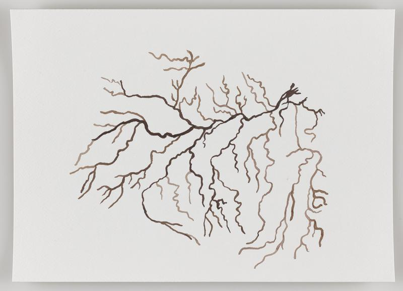 brown branching and zigzagging lines primarily in a diagonal from UR to LL