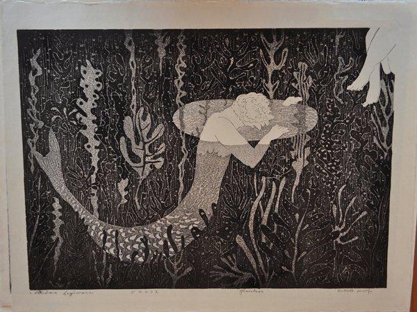 swimming merman with seaweed; legs, URC