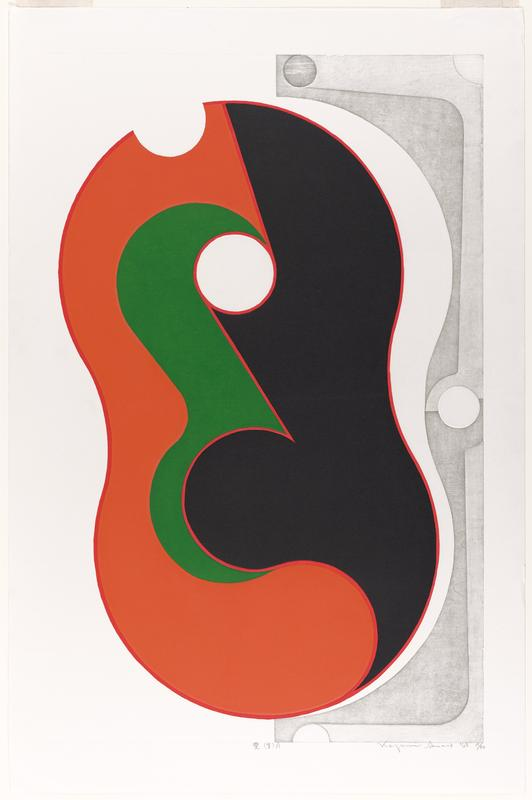 large peanut-shaped form with organic black, red, and green curving forms inside; white circle upper C within form; gray bracket on R side with circles and swooping lines