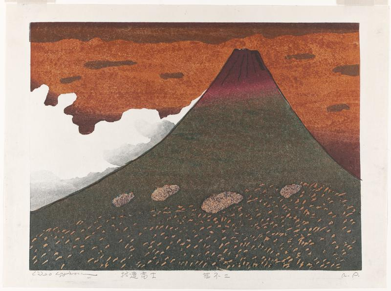 purple and green mountain with light orange dotted base and four larger orange shapes along middle; white and gray clouds roll up the left side of the mountain, in a dark orange sky