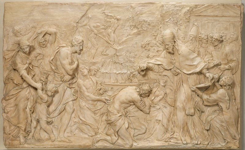 Relief study for the marble relief of Pope Liberius Baptizing Neophytes, in the Cortile de Belvedere in the Vatican, adorning the Fountain of St. Damasus