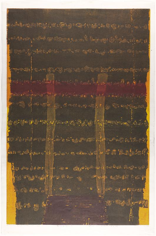 brown-black over orange and yellow with horizontal lines of abstract pattern embossed thorughout print; horizontal, red stripe across mid section, intersected by two parallel, vertical lines of lighter brown-black, ending at black rectangle at bottom