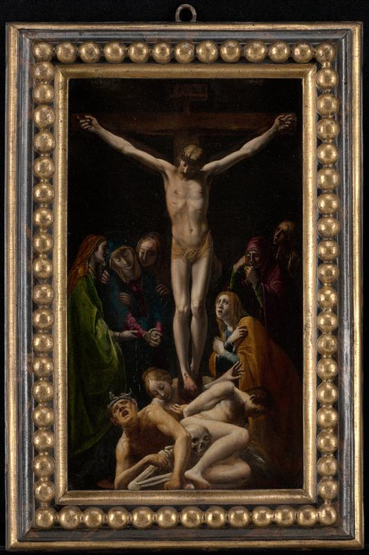 vertical composition with Christ on cross wearing a tan loincloth and crown of thorns with six weeping women in jewel-tone robes; skeleton, male nude wearing a crown of snakes, male nude with hands behind his back, and calm-faced woman with blonde hair at foot of cross; received framed in elaborate frame with chased gold balls and faux tortoiseshell