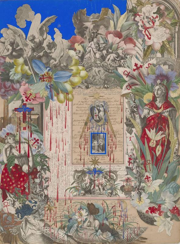paper collage with red crosses and blood drips; mostly black and white engravings with blue ground in ULC and colored flowers and leaves around edges; imagery includes reclining reading woman at bottom center with a large brown butterfly on her head, Classical female figures at left and right (figure at left seated, figure at right standing) wearing red garments with gold stars, central Sacred Heart with bird, gold rays and stars and figure of Jesus with the money changers, large angels descending from clouds in ULC; received in a medium toned wood frame