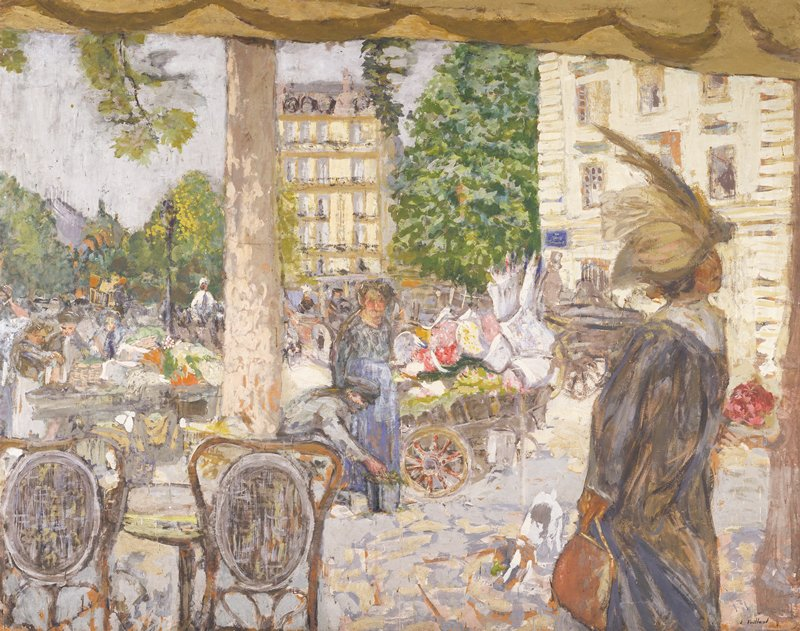 The right-hand half of a pair of decorations painted by Vuillard for Dr. Vaquez in 1912-1913; shows the junction of the Boulevard Haussmann and Boulevard Malesherbes at the Place St. Augustin as seen from a café at the Rue de la Pépinière