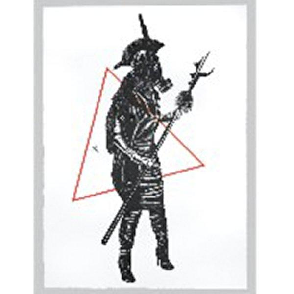 standing figure facing PL, wearing a gas mask, a headdress with one vertical feather and Mohawk-like top element, fur (or long hair?) down back, dress, and high heeled boots; figure holds a spear with a hooked and jagged end; red triangle over torso of figure; black and red on white