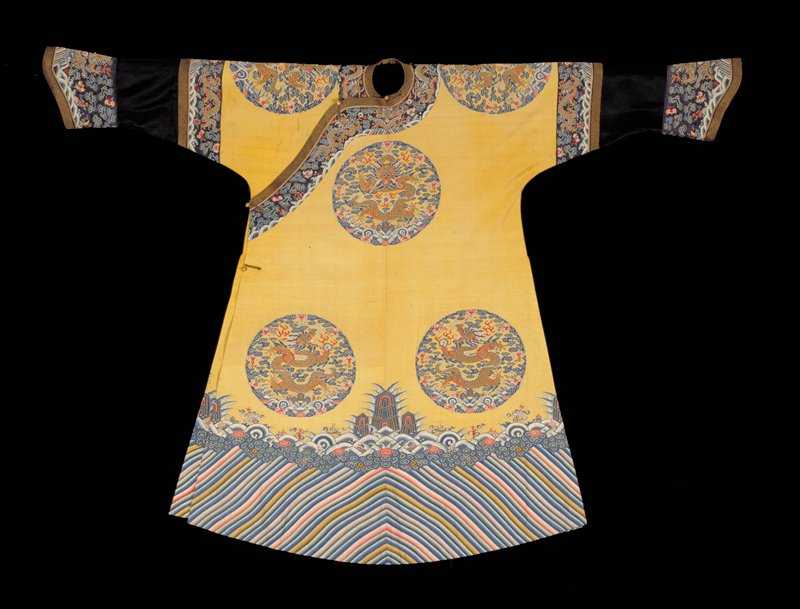 Mandarin robe of Imperial yellow decorated with royal 5-clawed dragon; K'ossu weave
