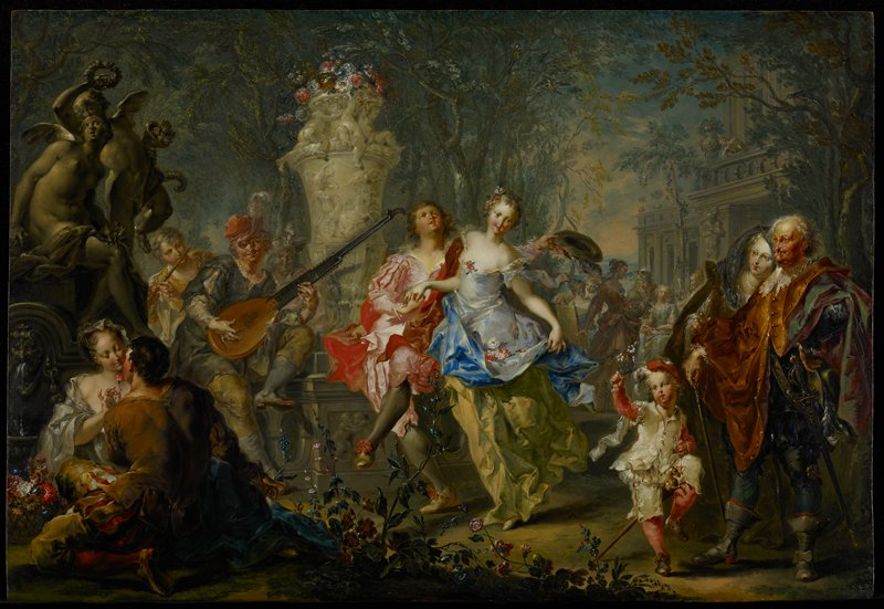Allegory. Rococo. Spring represented by scene showing human activity, usually in a landscape.