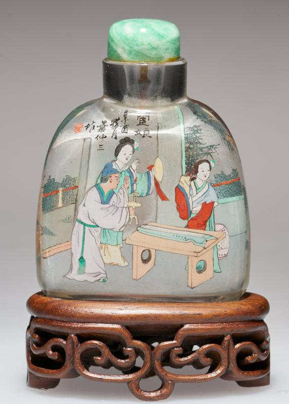snuff bottle; crystal with green jadeite top; hand-painted figures on inside; signed and sealed
