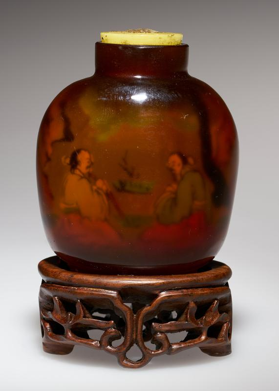 amber glass; pink glass top; shadow painting inside