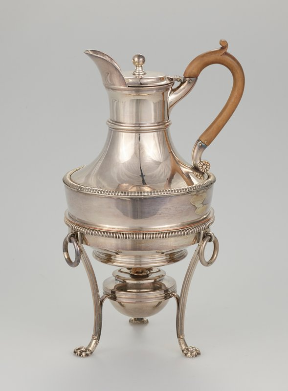 coffee pot on stand with spirit lamp; known as coffee biggin; gadroon border around top of stand and around shoulder of pot, wooded handle