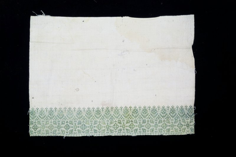 towel, or pillow border; embroidered on cream canvas in green silk diagonal and straight stitch; design of conventionalized shrubs, trees, flowers and lozenges
