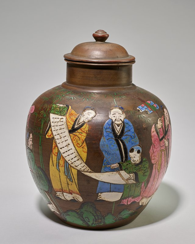 Jar, covered, decorated in enamel in Seven Wise Men design.