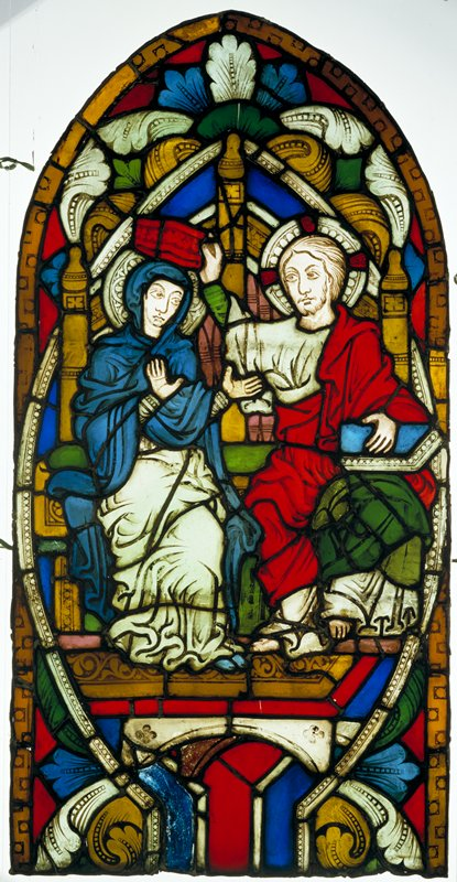 stained glass pane; Christ seated beside the Blessed Virgin; blue, yellow, red and green glass in small pieces