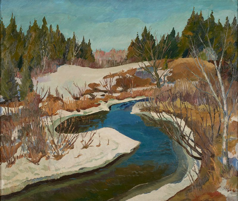 Landscape. The narrow, bright blue stream rises in a snow covered landscape thickly overgrown with pine trees.