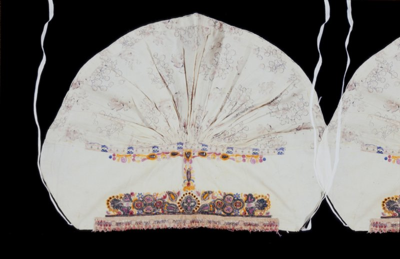 cap, made by gathering coarse printed material onto a straight piece, which is embroidered with floral and foliate designs in several colors, chiefly yellow; a good deal of metal thread is used; the hem is edged with colored lace