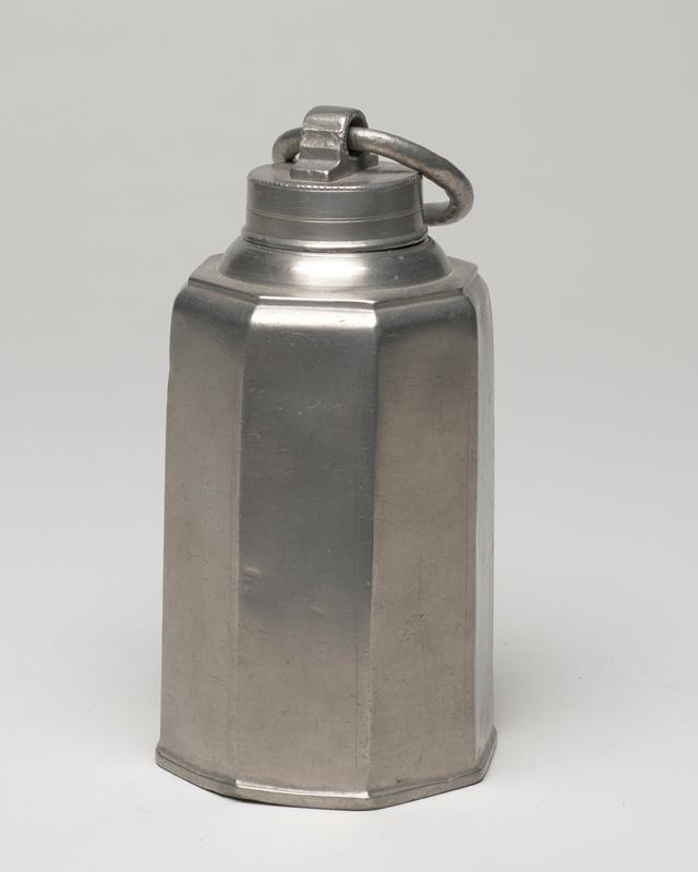 octagonal can, truncated octagonal shape, with screw top and moveable handle, these vessels called variously wine flasks, cans, food bottles