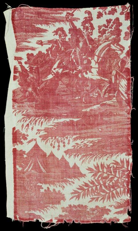 Toile, fragment, printed oin rose, shoowing one motif of Henri V charging on horseback. Printed fabric.