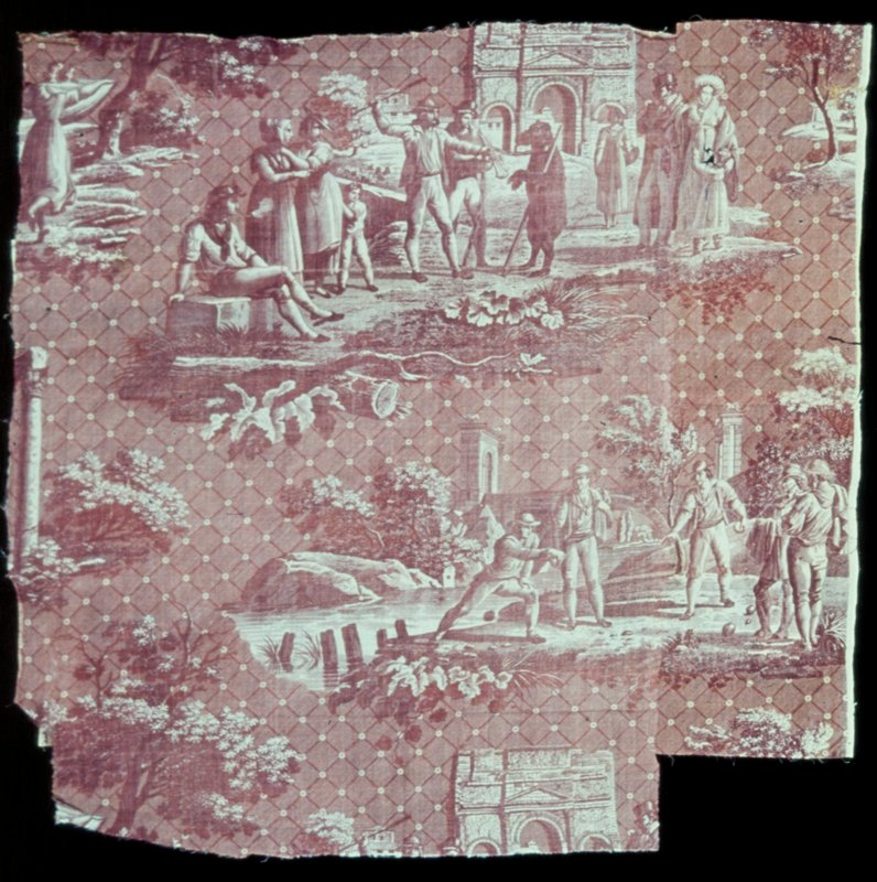 Toile, fragment, Les Monuments du Midi design, coper plate print, rose on white, drawn by Hippolyte Lebas, engraved by Jules Mallet. Lattice background of starred lozenges with groups of people walking, watching dancing bears, playing bowls. Fragment patched and pieced and quite faded.