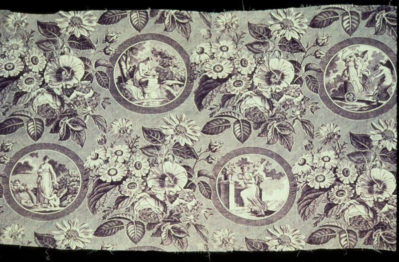 Toie, fragment of medallion design printed in mauve. Repeat pattern of four medallions separated by large floral bouquets. In each medallion a different episode of the story of Cupid and Venus?