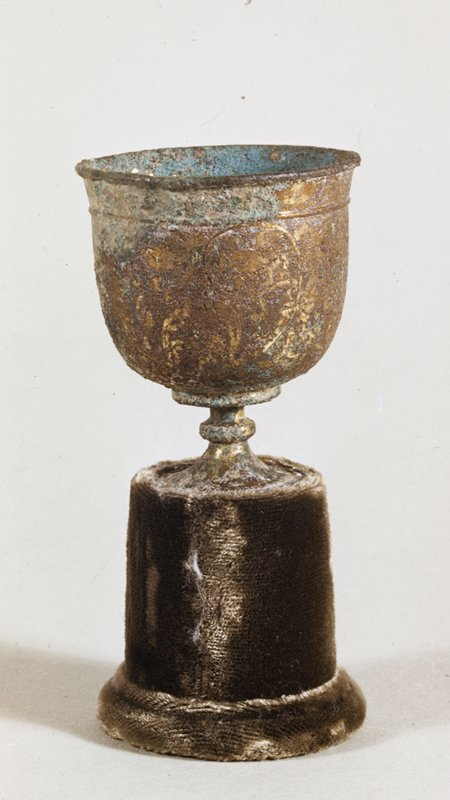 Cup, engraved with stylized lotus design and stipple background; gilt bronze.