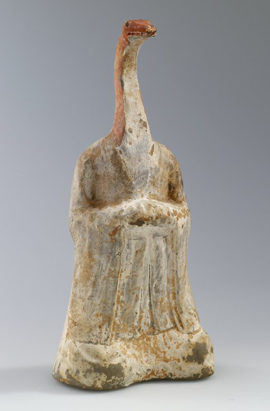 Head of Serpent, Zodiacal figure; polychromed terra cotta. This, representing God of the Constellation I, grey earthenware with white ground, painted with flesh-coloured pigments.