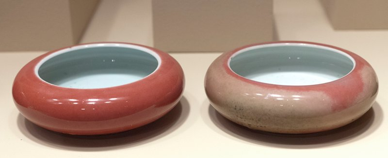 Water dishes, pair, peach bloom, pierced ivory lids, carved ivory stands.