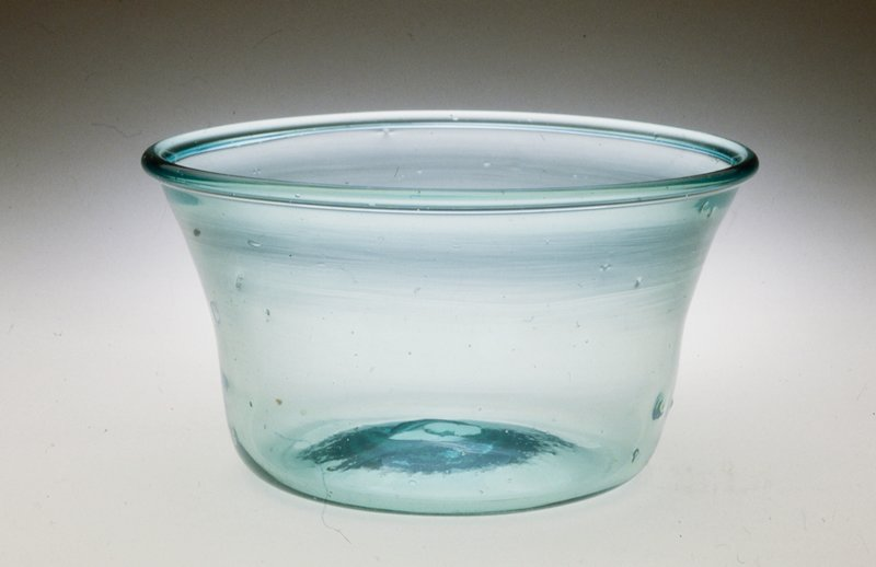 Bowl, greenish, milk pan per Decorative Arts Department, 1986.