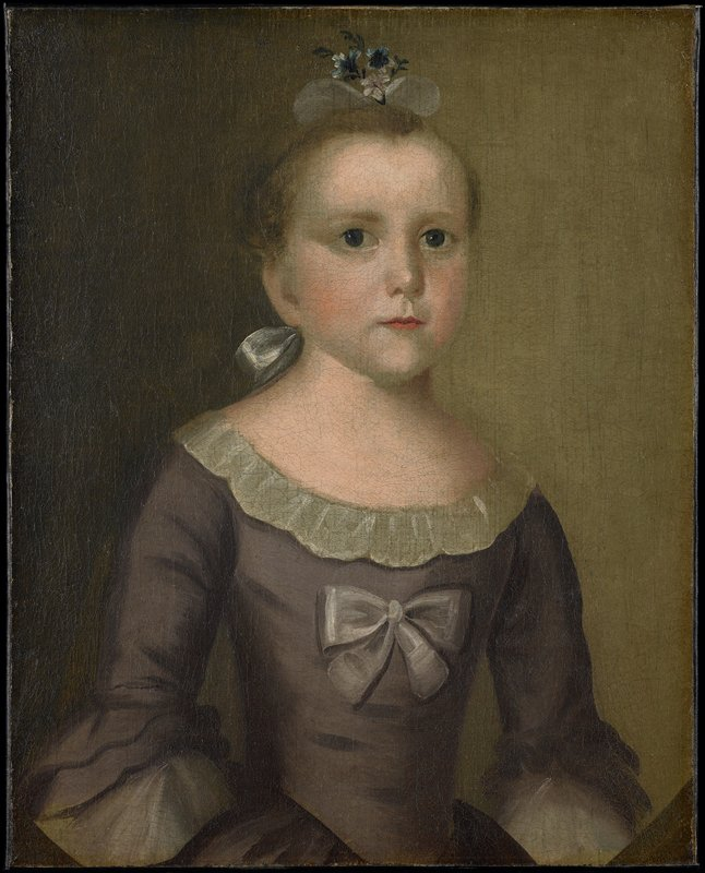 Half-length portrait painted in 1763. Her auburn hair is brushed back from her forehead and tied at the back of her neck with a white satin bow. A small bouquet of blue and white flowers with a white gauze bow is pinned on top of her head. Her dark eyes are directed to the spectator. She wears an olive green silk dress, the neck cut low and trimmed with a narrow white muslin ruffle and a bow of white satin ribbon is fastened at her breast. The sleeves with three long ruffles of the same material as the dress are of elbow length with a ruffle of white muslin (taken from 'Checklist of Portraits of Children painted by Joseph Badger,' 1923).