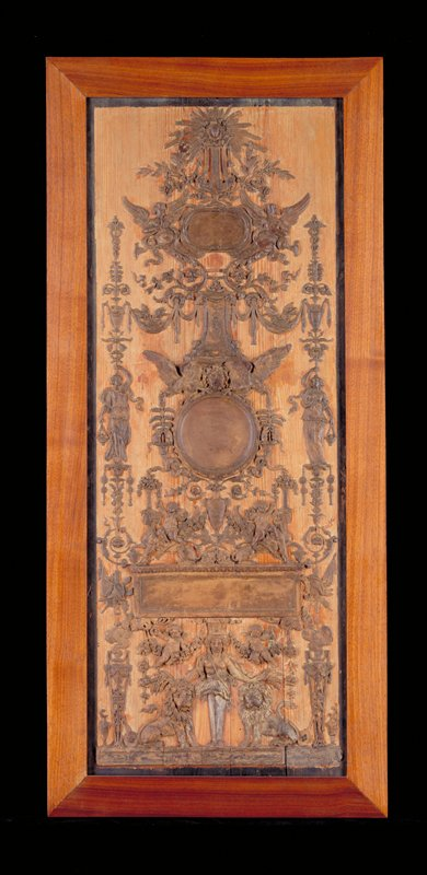Modello for Neoclassical design, wax on wood panel, French/Italian, XVIIIc no painted number, frame loose