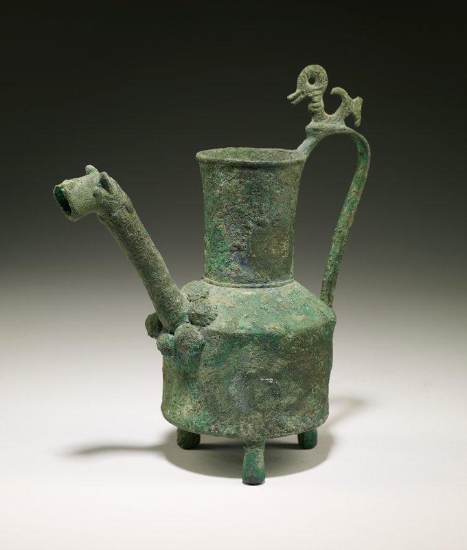 pitcher, animal head, bronze; tripod base, animal spout