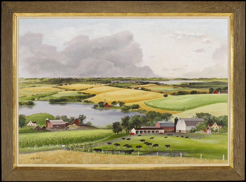 Landscape with barns, buildings and cows in the foreground.