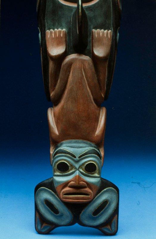 whale, painted wood, American Indian, possibly a recent work, Tlingit XIXc NO PHOTO ON CAT. CARD cat. card dims L 36'