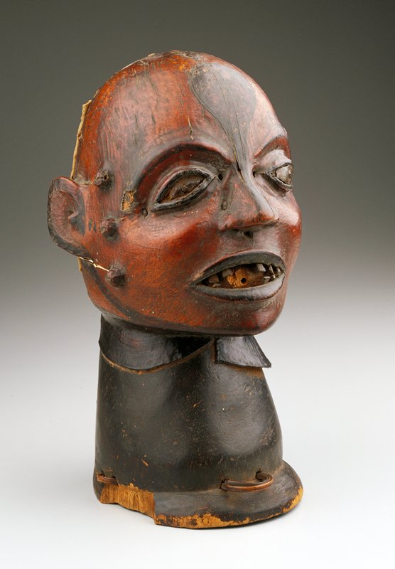 Head crest Mask; Ejagham people of the Cross River area, possibly Keaka group; covered with skin