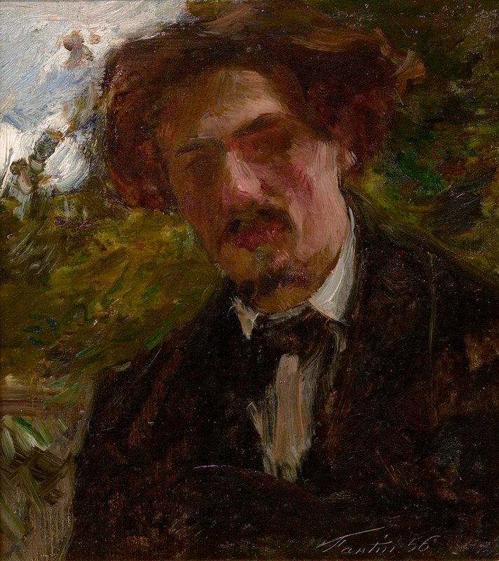 sketchy portrait of a man with bushy brown hair, small beard and mustache, wearing a dark suit with a white shirt; abstracted foliage in background with bit of sky at UL corner. Painted entirely en plein air.