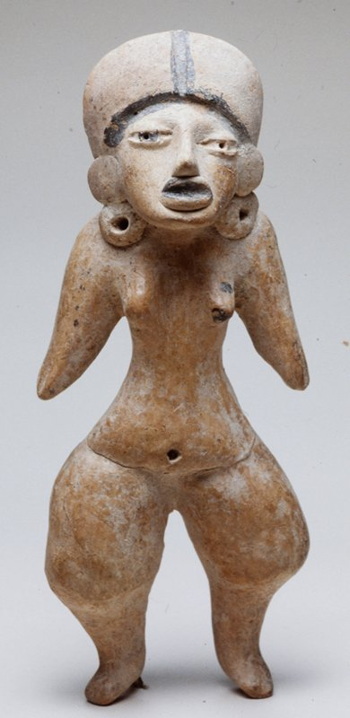 Female Figure with Headdress, earthenware, Mexico, Veracruz, Huaztec, 400-800AD. Wearing small headdress with black paint; burnished tan ceramic