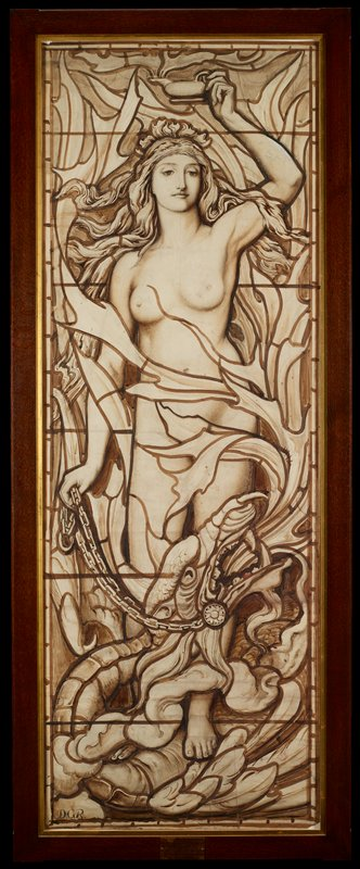 Design for a stained glass window; once thought to be by Dante Gabriel Rosetti from a series of The Elements