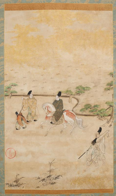 man on horse near C, talking with a man to his PR who is walking with a small attendant; two men in white at LR; shoreline with pine trees above