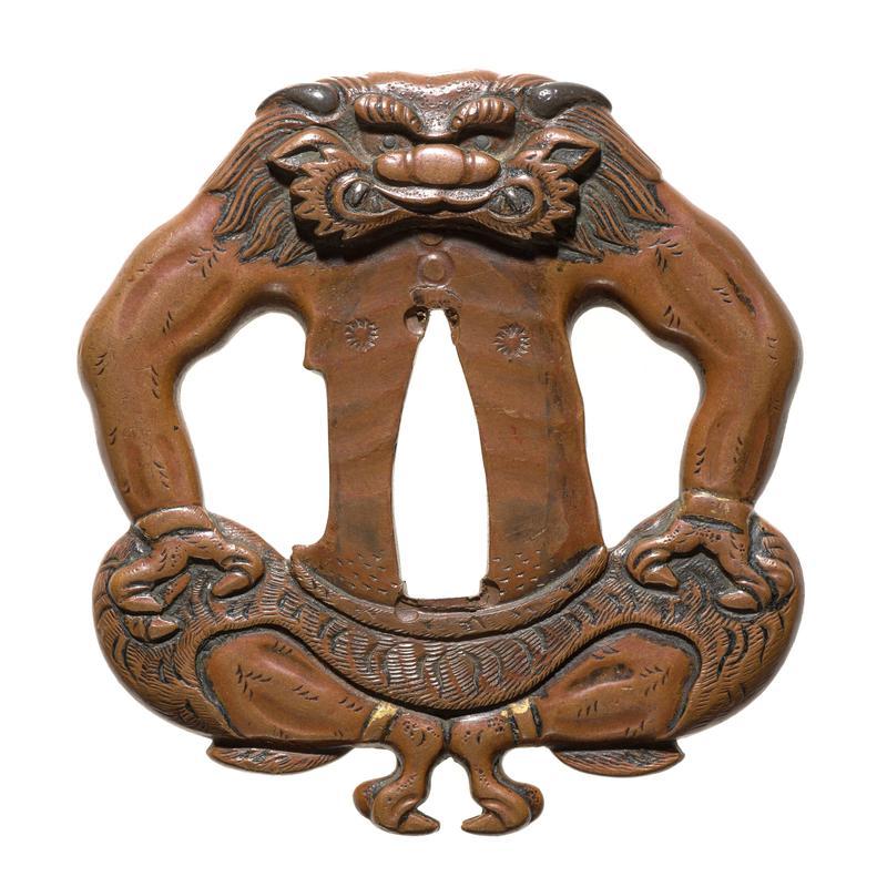 Tsuba Sword guard in form of Buddhist demon (Oni), seated
