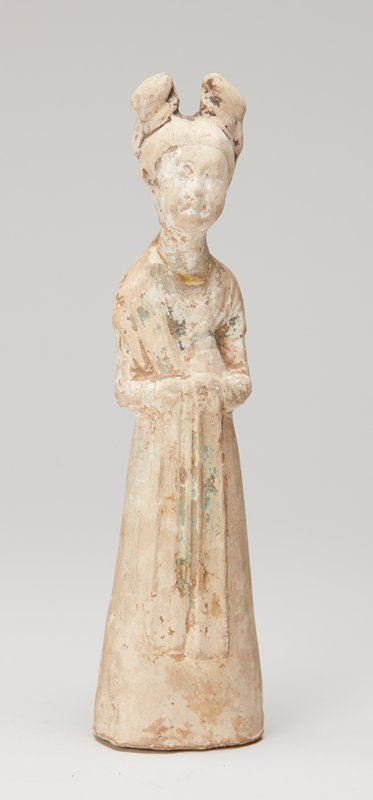 one of a pair of figurines, lady with a shawl, standing