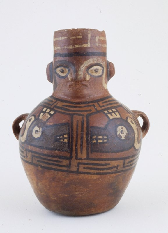 polychrome jar in form of warrior; two animal figures painted in front; red ceramic with black and white painted design.