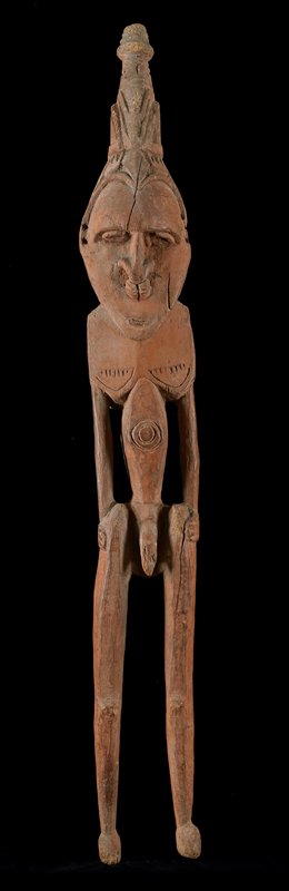 Ancestor Figure (male), 1 of pair, wood, New Guinea (Lower Ramo), XIXc NOTE SAYS ALL OBJECTS ON SHELF 1 ARE FAKES cat. card dims H 27-1/4'