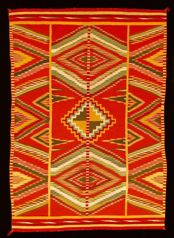 'Eye-Dazzler' blanket; Germantown yarn, wool; bordered sides, banded ends, selveged, outline pattern, tie-offs secure.