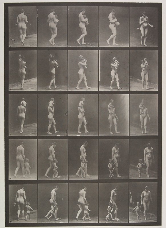 Carrying child, walking with child, hand in hand, running with child, hand in hand. From a portfolio of 83 collotypes, 1887, by Edweard Muybridge; part of 781 plates published under the auspices of the University of Pennsylvania
