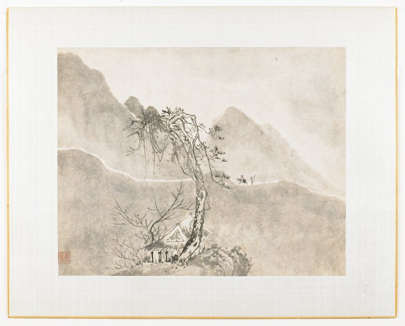 Mountain landscape with central tree; building at base of tree; two figures on mountain path, one mouted ,one walking carrying a pole